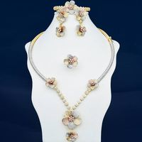 Nnewness Delicate Flowers Cubic Zirconia Copper 3Tone Dubai Engagement Wedding Party Necklace Bangle Earring Ring Jewelry Set