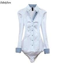 Новое прибытие женские блузы случайный с длинными рукавами хлопок ol офис боди белая блузка рубашка женщины S M L XL TS068