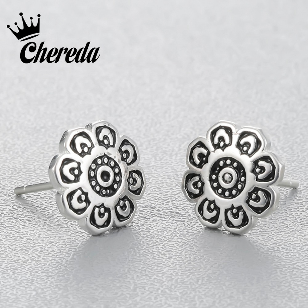 Chereda Retro Vintage Style Earring Stud Sun Flower Jewelry For Men Earring New Design Accessories
