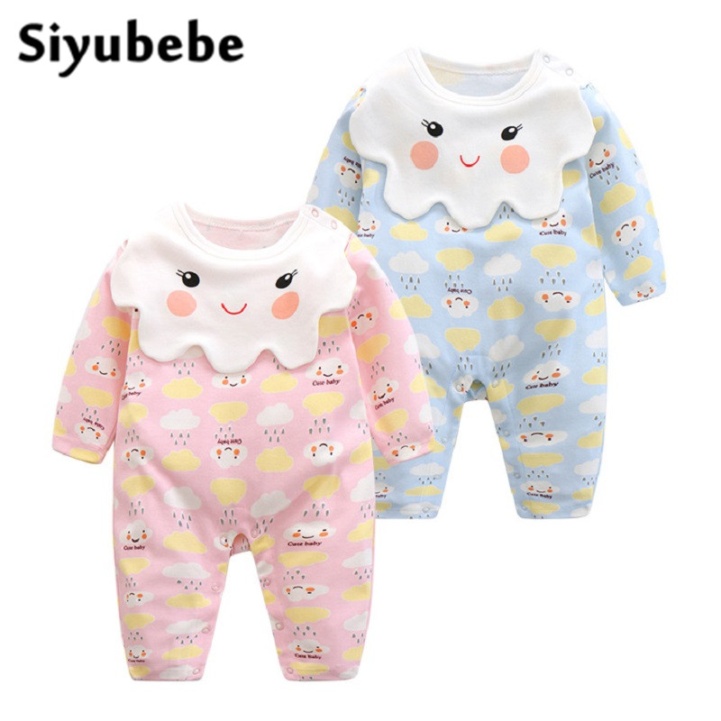 Siyubebe 0-12M Baby Rompers Fashion Brand Cute Cotton Long Sleeve Ropa Bebe Infant Girl Jumpsuit Newborn Baby Boy Clothes warm thicken baby rompers long sleeve organic cotton autumn