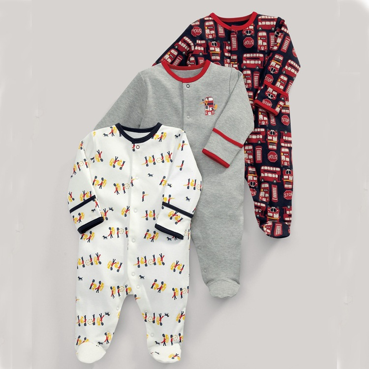 Spring and Autumn models baby children 3 sets of clothing boys and girls long sleeves feet long climb suit
