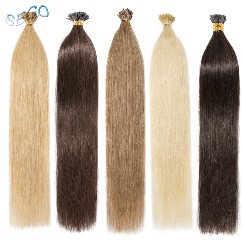 SEGO 16''-24'' 0.5g/s Straight Human Pre Bonded Non-Remy Fusion Hair Extension I Tip Stick Keratin Double Drawn Hair Extension(China)