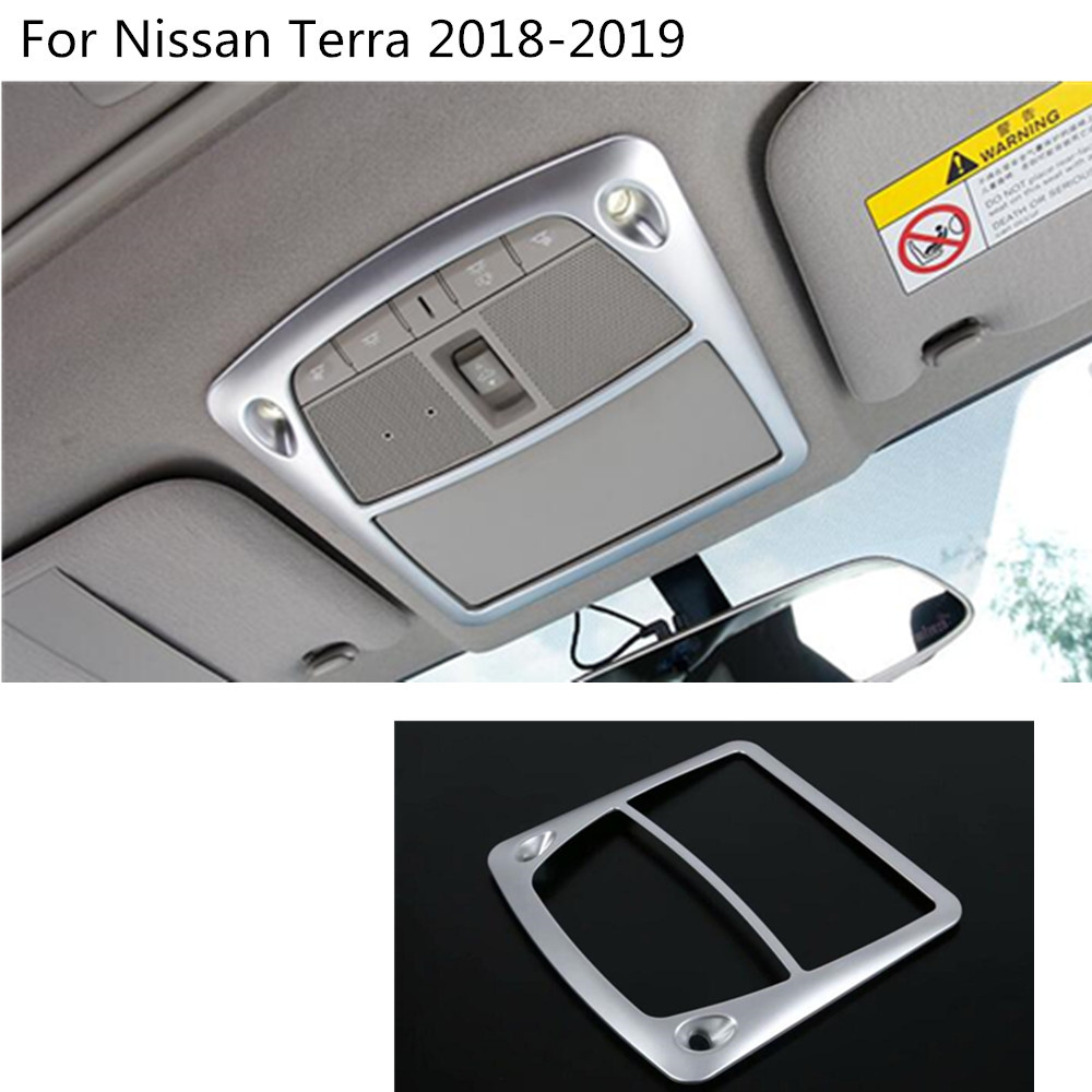 Car styling cover stick ABS Matte head read front reading light lamp trim hoods 1pcs For Nissan Terra 2018 2019