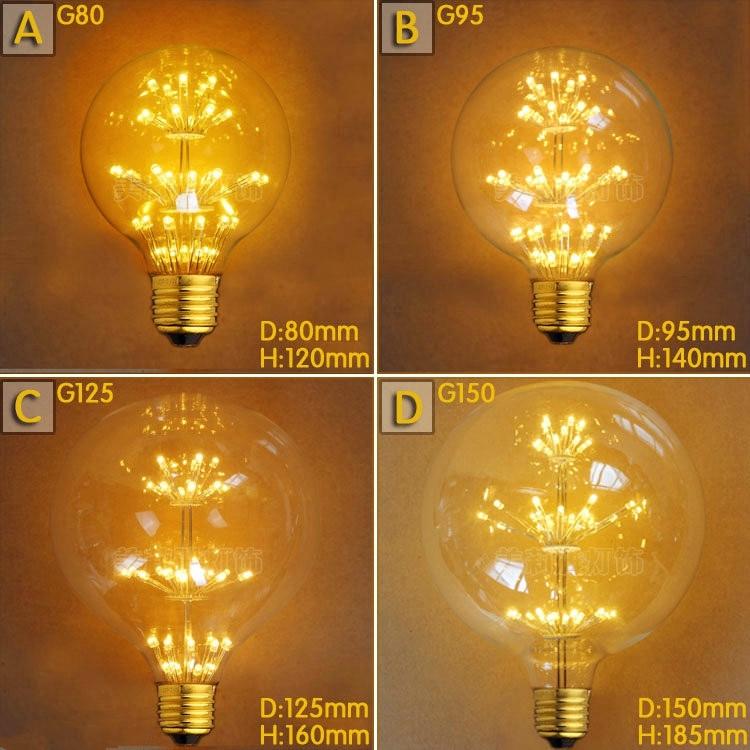 G80 G95 G125 2W LED Bombilla Edison Lamp E27 Vintage Bulb Light Lampada Edison Bulb Retro Lamp Ampoules Decoratives