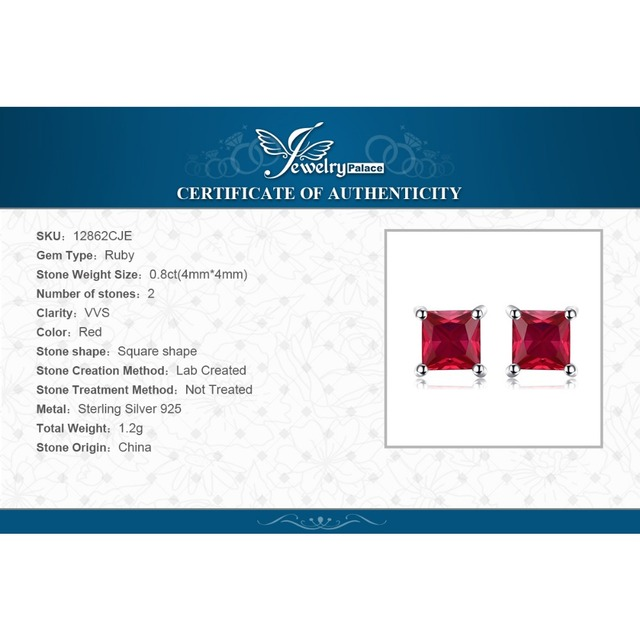 JewelryPalace Square  Created Red Ruby 925 Sterling Silver Stud Earrings Fashion Earrings for Women Fine Jewelry New Brand