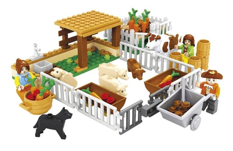 Model building kits compatible with font b lego b font city happy farm 244 3D blocks
