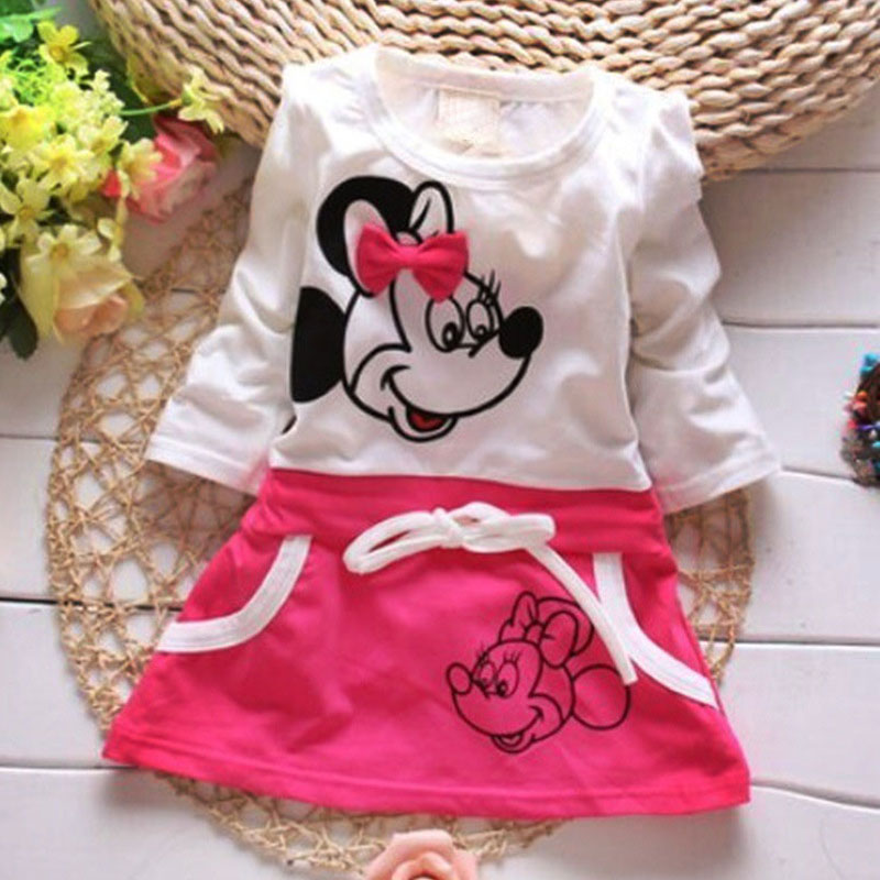 Fashion Minnie girl dress cute cartoon print children's dress cute autumn long sleeve girls dress With pocket princess dresses minnie dots 4th birthday number minnie print tank top with white ruffles