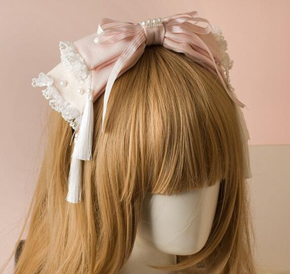 Fairy Girls Pink Headband Sweet Lace Bowknot Pearls Tassel Hair Band