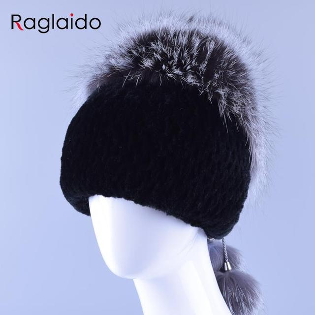 Women's Hats Made of Natural Fur Rabbit Soft Beanie Hat with Fox Fur Top N Ball Accessories High Quality Winter Caps LQ11154