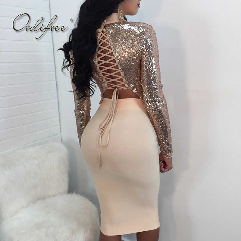 Ordifree Crop Top and Skirt Set Sexy Lace Up T-shirt Long Sleeve Bodycon Midi Skirt Silver Gold Top Sequin Women Top 2 Piece Set
