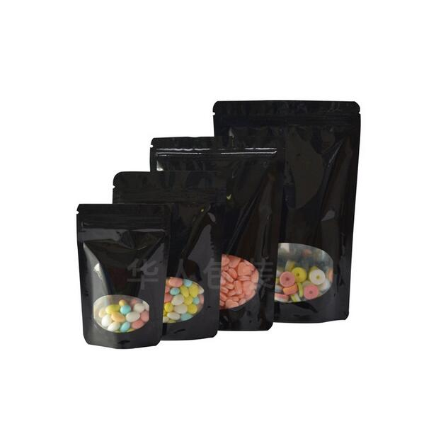 Small to Big Black Aluminum Foil Mylar Package Bags With Oval Window Stand Up Zip Lock