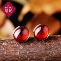 Semi-pedras preciosas naturais de Seda Da Princesa Do Vintage 925 Sterling Silver meninas vermelho Thai corindo vermelho Granada brincos feminino