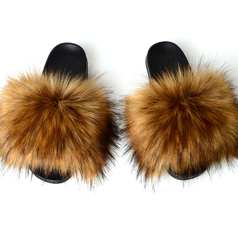 Fashion Fake Fox Fur Slippers Women Summer Slippers Flip Flops Casual Faux Fur Slides Plush Shoes Home Furry Flat Sandals Female