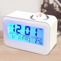 Electronic LCD Projector Alarm Clock Time Temperature Digital Display Desk Table Bedside Clocks Voice Talking Calendar T 1