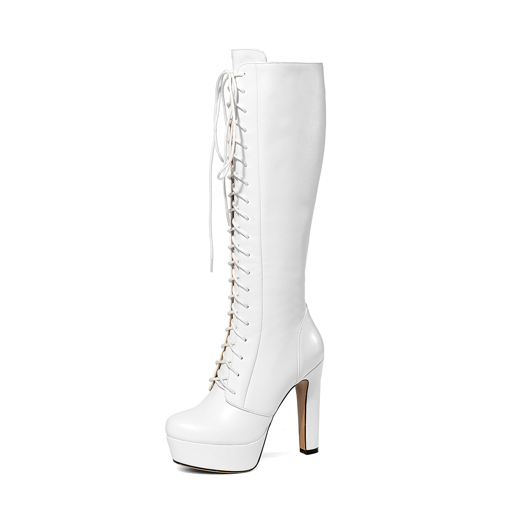 Con blanco Botas 43 De 34 Negro Marca Grandes Zapatos Tallas Tacones Mujer Plataforma Cuero Genuino Doratasia Altos Punta PqnCwTz