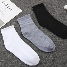 3Pairs/lot Mens Boat Socks Male High Elastic Wear-resistant Non-slip White Ankle Spring Summer Solid Color Cotton