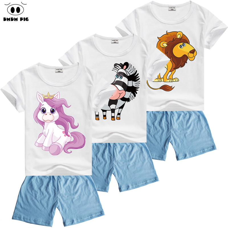 DMDM PIG Summer Christmas Outfits Toddler Baby Boy Clothing Children's Clothes Sets Kids Sport Suit Tracksuits For Boys Girls baby clothes sweater sets autumn girls clothing christmas suit toddler cothing boy clothes penguin clothing for newborns girl
