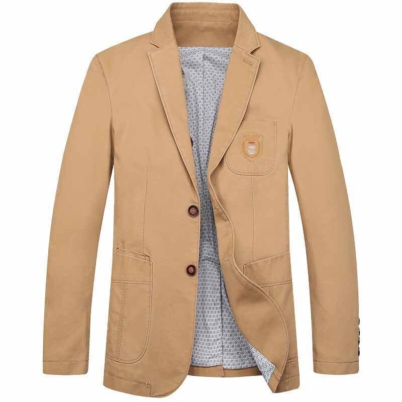 Autumn Spring New Fashion Men Casual Blazer Jacket Cotton Embroidery 2 Button Suit Blazer OUTWEAR Coat Male Clothes Plus Size