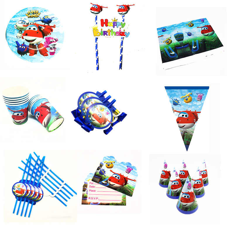 Super Wings theme birthday party decorations baby shower party supplies Super Wings disposable plates cups napkins banners