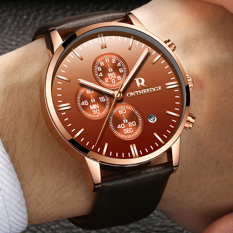 Relogios Newest High quality ONTHEEDGE Men Calender Business Quartz Watch Men Genuine Leather Waterproof Sport watch Hot Sale цена