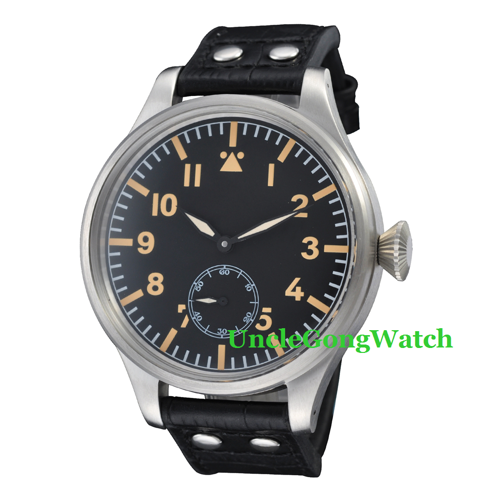 55mm Black Dial Yellow Marks Deployment Bukckle 6498 Mens Hand Winding WristWatches WM5501 44mm black sterile dial green marks relojes 6497 mens mechanical hand winding watch luminous armbanduhr cm164bk