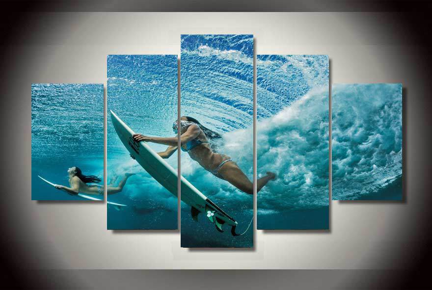 Framed Printed Girl surfing Painting on canvas room decoration print ...