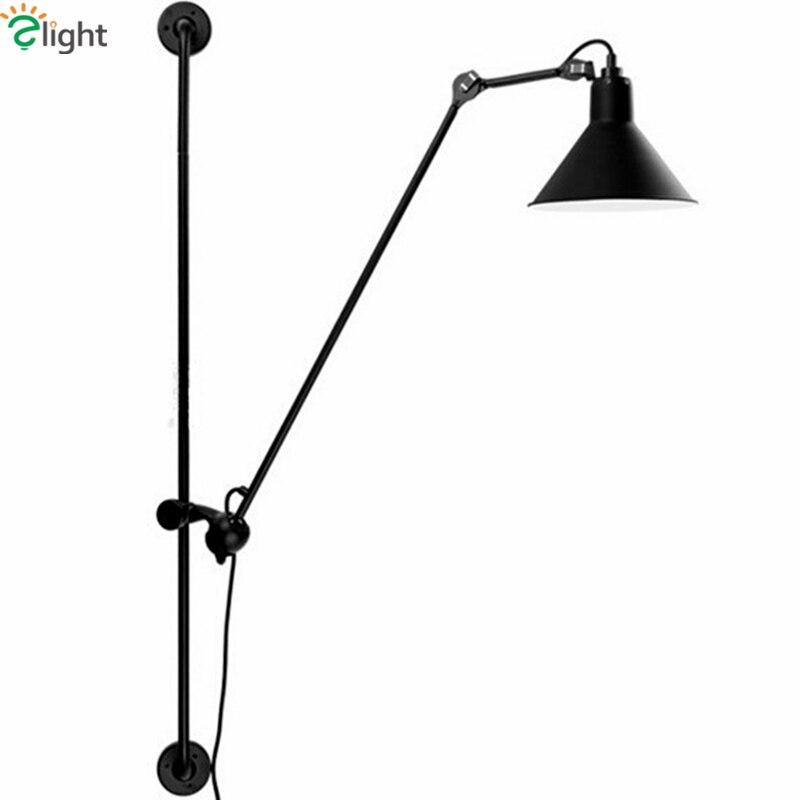 Americano retro industrial rotatable led lâmpada de parede grande tamanho 120cm pintura metal lâmpada de parede led luminarias para iluminação interior