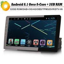 """8-core 10.1 """"Autoradio de Navegação GPS Do Carro Android 8.1 DIN DAB + 1 4g NAVI do Bluetooth OBD DVB-T2 AUX Rádio RDS BT DVD USB SD DVR"""