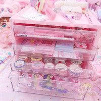 Large Capacity Cosmetic Storage Box Drawer Makeup Dressing Table Rack House Organizer Container Masking Tape Collection