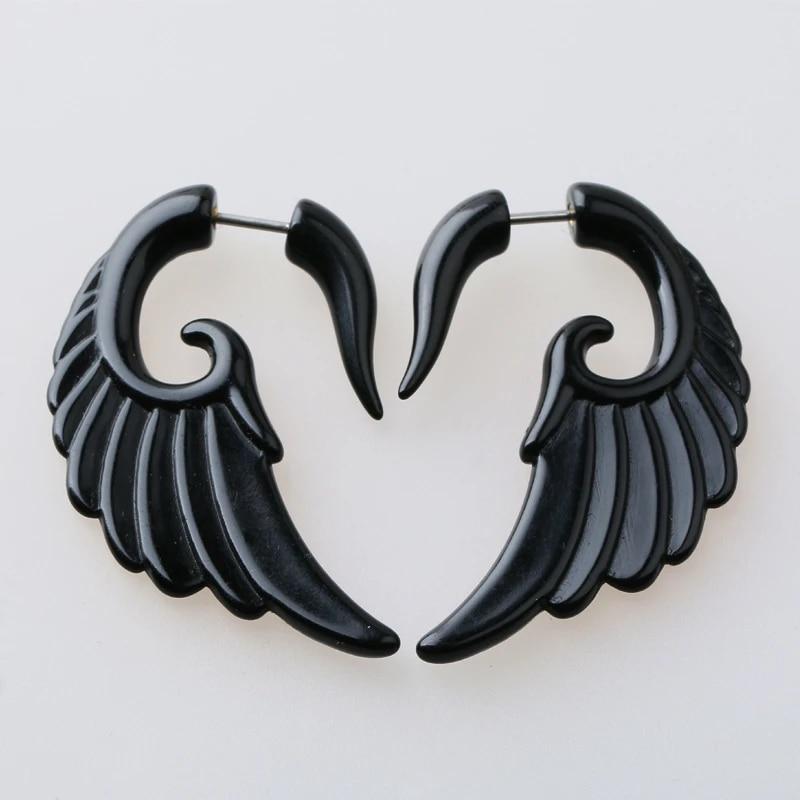 2Pcs Acrylic Black Fake Spiral Ear Taper Piercing Body Jewelry