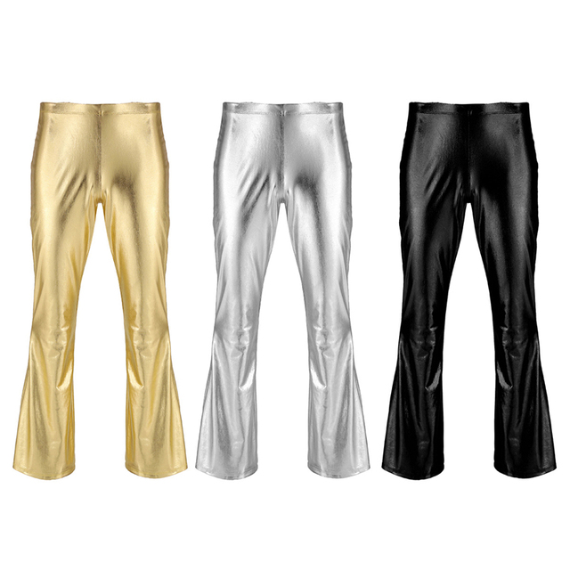Sexy Fashion Faux Leather Pants Skinny Mens Bottoms Shiny Metallic Disco Flare Pants Bell Bottom Trousers Elastic Waist Pants 2