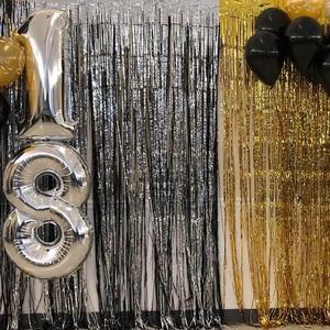Image 4 - 1M 2M Rose Gold Metallic Foil Tinsel Fringe Curtain Door Rain Wedding Decoration Birthday Party Backdrop Background Photo Props