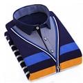 Outono inverno blusas listradas moda engrossar camisola térmica dos homens lazer magro pullovers blusas camisa da juventude homens clothing