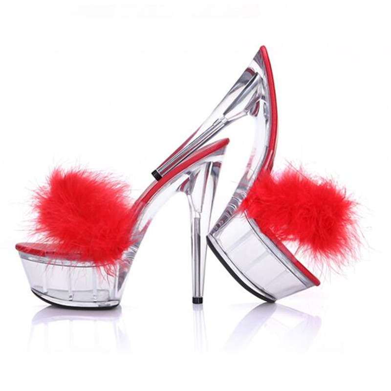 52b6d443180 15cm High Heels Women Fur Slippers Summer Fashion Zapatillas Transparent  Platform Heels Sandals Shoes Woman Fur Slides Sapatos-in Slippers from Shoes  on ...