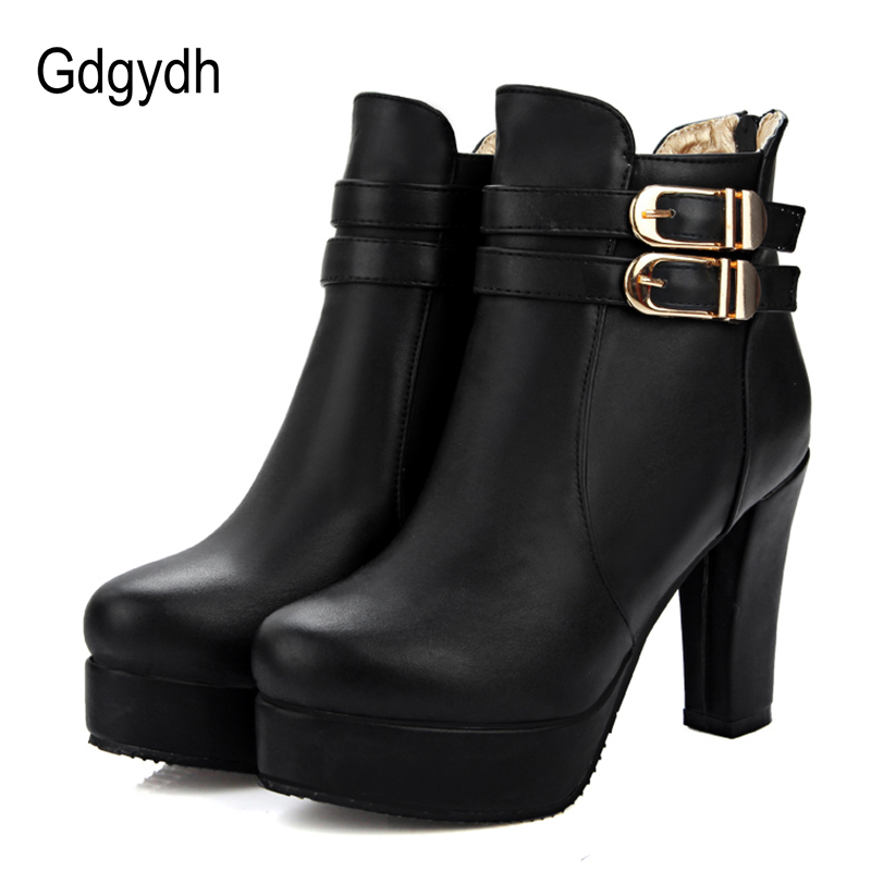 Ayakk.'ten Ayak Bileği Çizmeler'de Gdgydh Moda Toka Bahar Sonbahar yarım çizmeler Yüksek Topuklu Kadın Ayakkabı Kauçuk Taban Kadın Chelsea Çizmeler Yumuşak Deri Büyük Boy 43'da  Grup 1