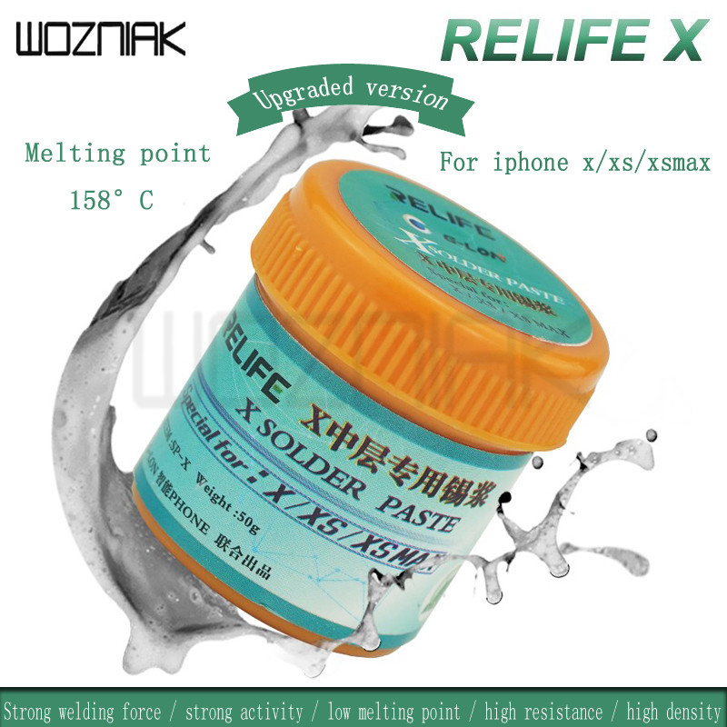 Relife SP-X Middle Layer Special Solder Paste Low Temperature 158 Degree For IPhone X Xs Xs Max High Density  Solder Paste