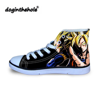 doginthehole Children Anime Dragon Ball Printing Canvas Shoes Men Classic High Top Vulcanized Shoes for Boys Cartoon Flat Shoes