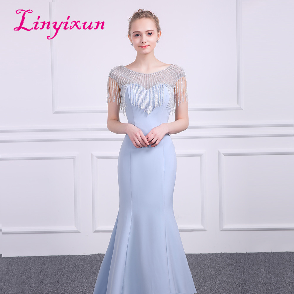 Linyixun Sexy Bling Bling Mermaid Prom Dresses 2018 Lavender Beauty Scoop  Neck Cap sleeve Vintage Evening Dress Long Prom gowns da54a147f9ec
