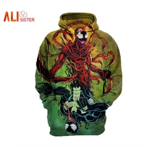 Men Women Unisex Pullovers Tops Venom 3D Printed Hoodie Casual Long-sleeved Pocket Hoodies 2018 New Tees Sweatshirt Plus Size(China)