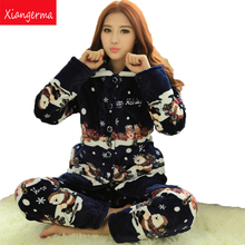 Xiangerma New Quilted Winter Pajamas Ms. Warm Thick Coral Velvet Long-Sleeved Tracksuit Luxury Santa Claus Suit