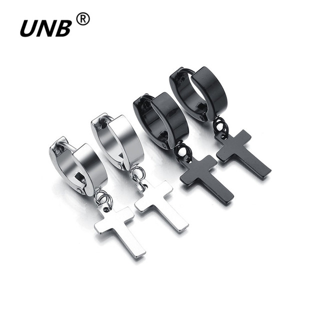 c184c6619 UNB 2017 New Women Men's Stainless Steel Dropping Earrings Black/Silver  Color Cross Gothic Punk Rock Style Pendientes Mujer Moda