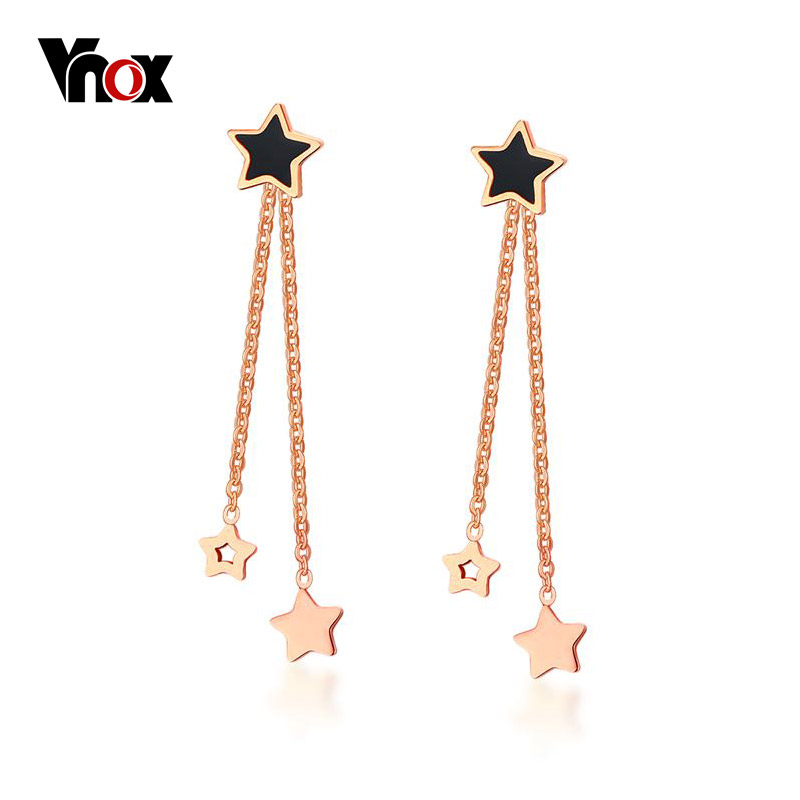 Vnox Cute Star Stud Earrings Rose Gold color Stainless Steel Long Earrings Not Allergic