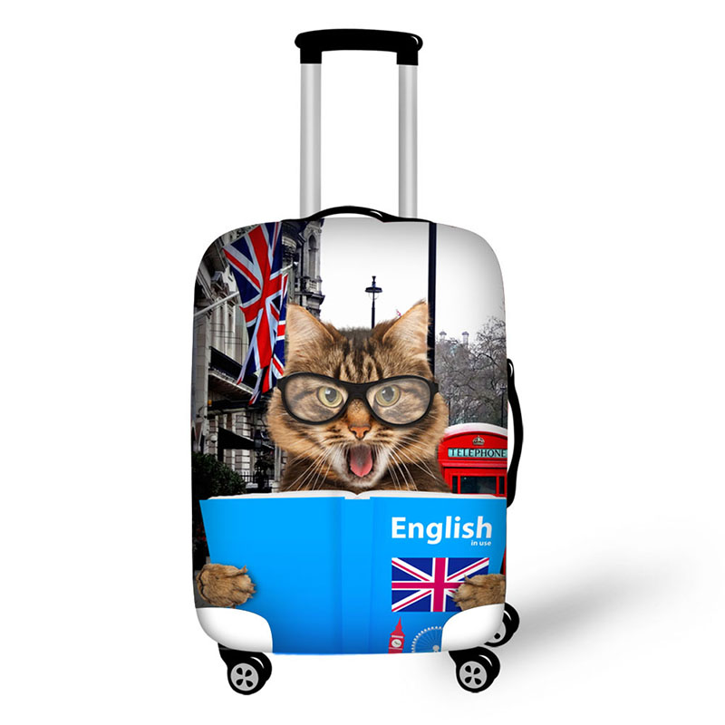New Style 3D Pet Cat Print Suitcase Cover Zipper Closure Suit For 18-30 Inch High Elastic Protective Case For Trolley Case