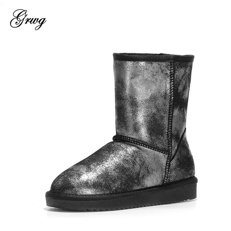 GRWG 100% Echtem Leder Natürliche Pelz Schnee Stiefel Warme Wolle Frauen Stiefel Dame Klassische Wasserdichte Winter Stiefel Frauen Schuhe-in Wadenhohe Stiefel aus Schuhe bei  Gruppe 1