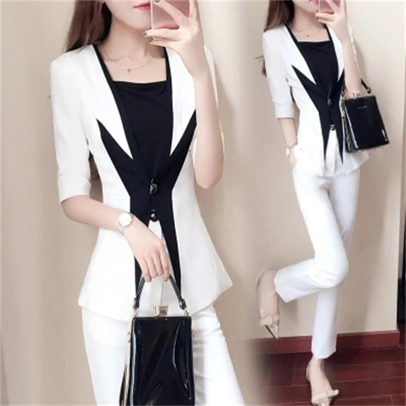 New women s spring fashion small suit two piece spring black and white stitching suit suit