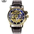 Relogio Masculino Men Mechanical WINNER 2016 Brand Skeleton Watch Golden Watches Montre Homme Leather Clasp Luxury Male Clock