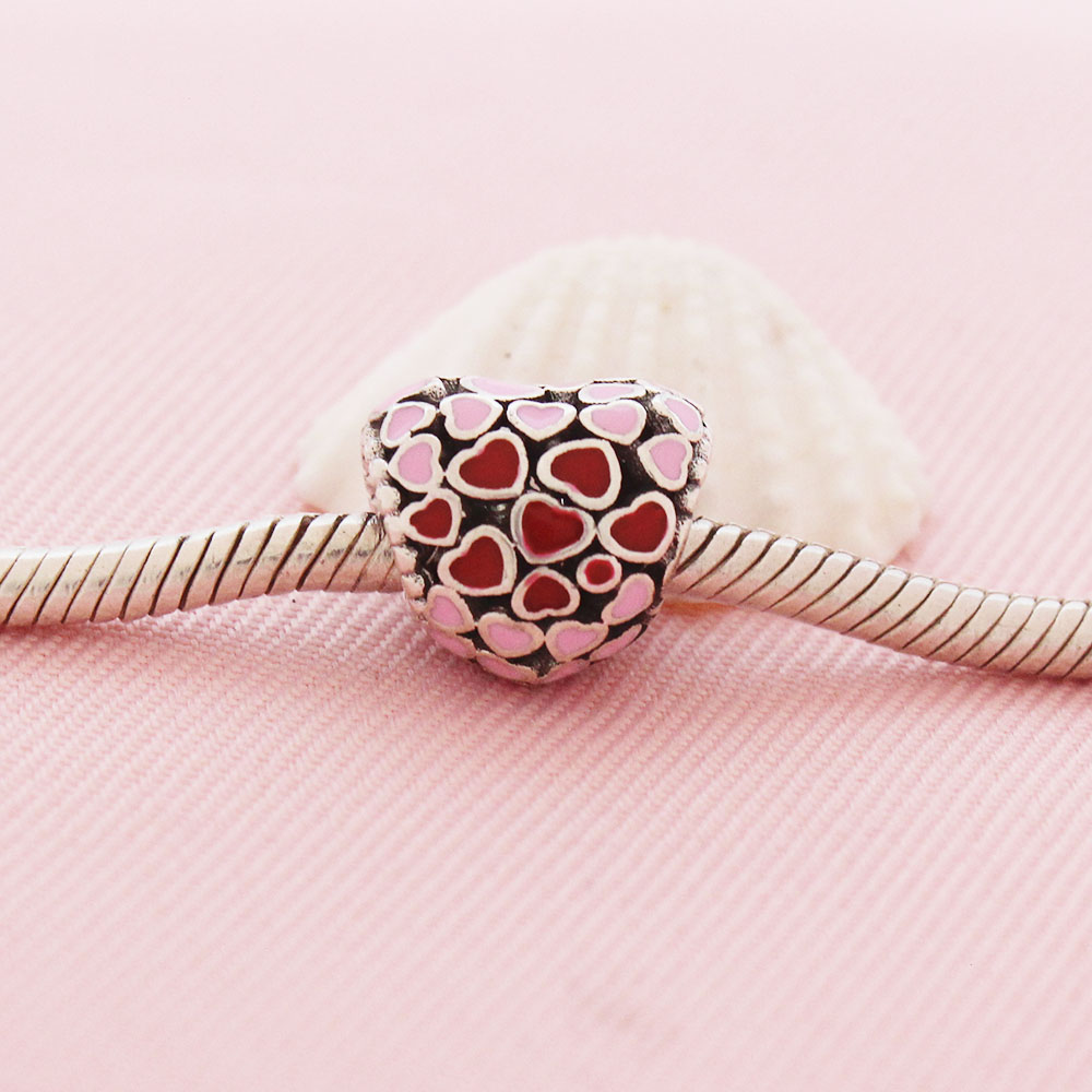 2018 Newest DIY Fits Original Pandora Charm Bracelet Jewelry Making 925 Sterling Silver Pave Heart Beads Charms With Mix Enamel