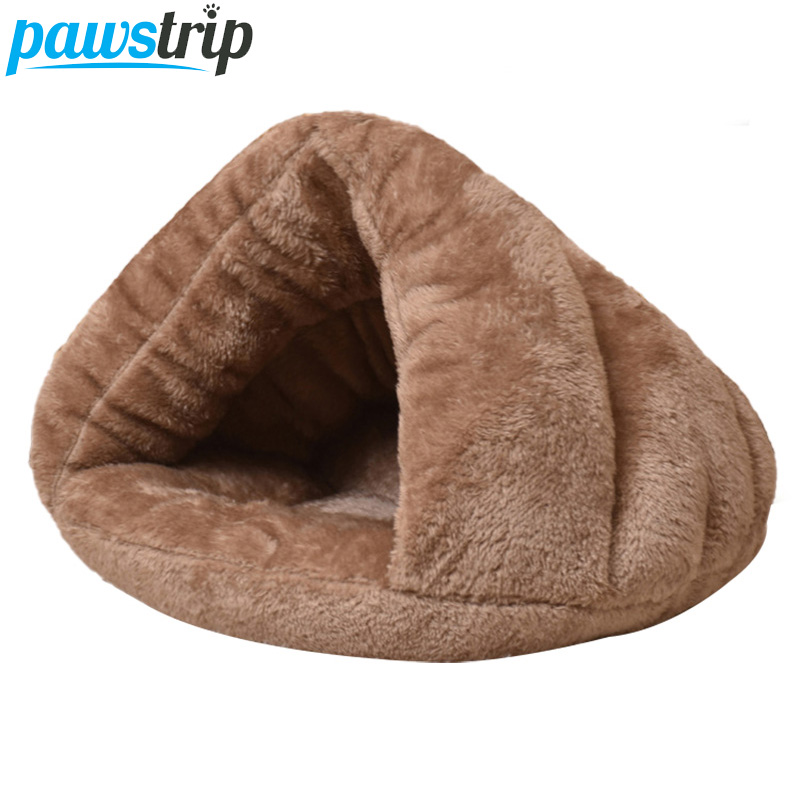 Pawstrip 5 Colors Winter Cat Bed Fleece Soft Small Dog Bed House Windproof Warm Cat Sleeping Bag S/m