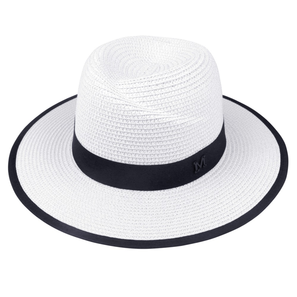 2018 Fashion New Elegant Black Jazz Hats For Women White Sun Hat Men Formal Blue Summer Beach Cap Letter M Fedora Straw Hat