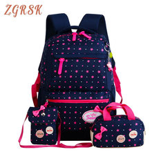 Kids Cute Nylon School Bags For Teenagers Girls Backpack Princess Schoolbags 3pcs/Set Backpacks Back Pack Bookbags